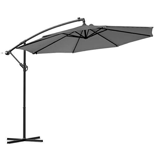 Ampelschirm Sonnenschirm Ø300cm mit Kurbelvorrichtung, 8 Rippen Gartenschirm Kurbelschirm Marktschirm, UV-Schutz wasserabweisend,für Garten Balkon Terasse Camping Schwimmbad Loggia (Anthrazit)