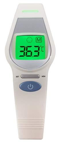 Ellemka - Thermometer Digitale IR Infrarood | Kinderen Volwassenen Senioren | Thermometer Voorhoofd Contactloos | LCD Kleurendisplay | UFR-106 Weony - Kleur Grijs Wit