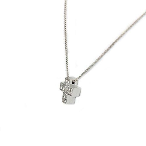 Salvini Collana croce crocetta pendente collier oro diamanti TEXTURES 20029559