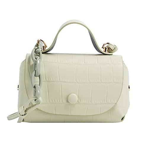 QIANJINGCQ Moda simple personalidad patrón de piedra bolso de cadena estilo occidental color puro temperamento bolso de mensajero pequeño bolso de caramelo fresco bolso de hombro para mujer
