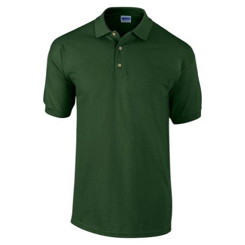Gildan - Polo de manga corta para hombre/Caballero Modelo Pique - 100% algodón calidad de primera (Grande (L)/Verde oscuro)