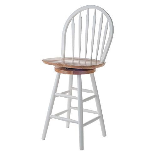 Winsome Wood Wagner Stool, 24', White & Natural