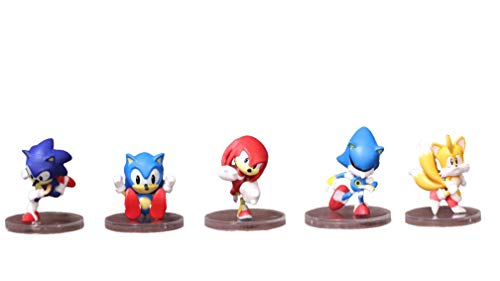 LINJIA Juguetes Sonic 5 unids/Lote Super Sonic Games PVC Stand Figure Model Cake Decor Games Fanshionable Gifts for Boys, Home Decor