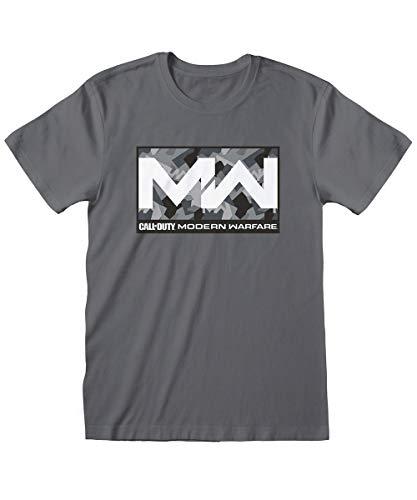 Call of Duty Modern Warfare – Camo Box – T-shirt gris pour homme, manches courtes, impression frontale, produit officiel T-shirt (L)