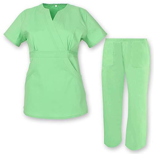 MISEMIYA - Casaca Y PANTALÓN EL�STICA Mujer - Uniformes Sanitarios Dentista Uniformes MEDICOS Ref. 70911 - L, Verde Manzana, Casaca y Pantalón - Verde Manzana