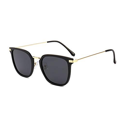 XFSE Gafas de Sol Gafas De Sol Retro Simples Gafas De Montura Grande De Metal Cuadrado (Color : Black)