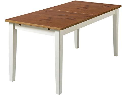 Loft24 Esstisch 160-200 cm ausziehbar Esszimmertisch Kiefer Massivholz Küchentisch rechteckig Tisch für 4-8 Personen Landhaus weiß Honig