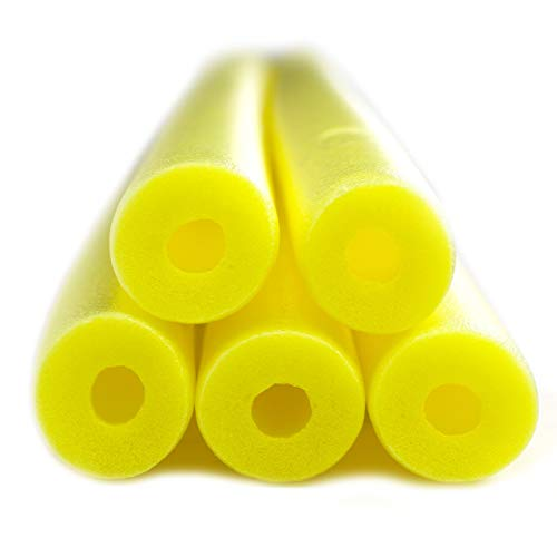 Fix Find - Pool Noodles - 5 Pack of 52 Inch Hollow Foam Pool Swim Noodles | Yellow Foam Noodles