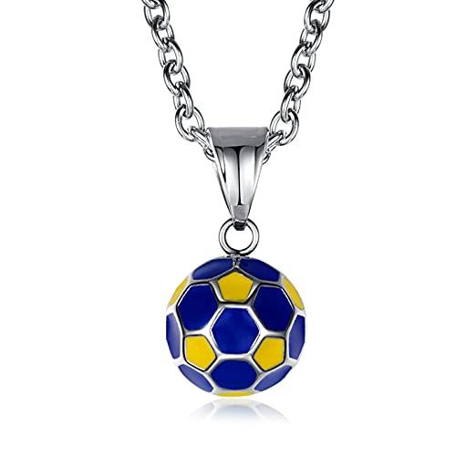 collar Colgante Joyas Colgante de fútbol de la Copa del mundo, collar de equipo deportivo, joyería de artículo de ventilador de acero de titanio Regalo de cumpleaños de navidad de acción de gr