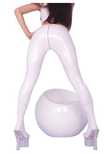 AILINSHA Damengamaschen Latex lackiert PVC nass Aussicht Lederhose Enge U-förmige volle offene Reißverschluss Fitness Party Nachtclub Dance White-EL