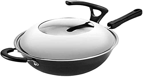 sartén de cocina wok, Wok Pan Wok Cabina de hierro fundido sin recubrimiento Pote de cocina con estufa de gas Cocina de inducción General Cocina de cocina