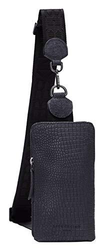 Liebeskind Berlin Women's Suede Lizard Sling Satchel Bag, Midnight Sky-5950, Small