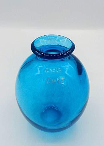Dutz Collection | NADIEL Glas Vase Blau H 14 cm C3 Nachtblau Blumenvase Dekovase | Bauchig Mundgeblasen | Tischdeko Frühling Sommer