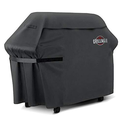 Grillman Premium BBQ Grillabdeckung Heavy Duty Gasgrill Abdeckung für Weber, Brinkmann, Char Broil etc. Reißfest, UV & Wasserfest (60 inch / 152 cm, Schwarz)