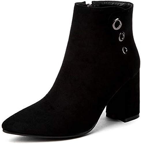 HOESCZS 2019 damenes Botines PU Cuero Moda schwarz Stiefel de Invierno damenes schuhe damenes Stiefel de Motocicleta Tamaño Grande 34-43