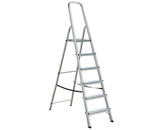 Draak Step Ladder 6 Step - Non Slip Treads - Ladder Made from Lightweight Aluminium Certified to BS EN 131 Part 1-3