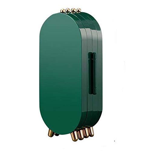 Yousiju Caja de Almacenamiento Pendientes Soporte de exhibición Pulsera Collar Organizador Caja de plástico portátil Plegable 4 Puertas 240 Agujeros Grande (Color : Green)