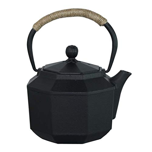 Fireplace Kettles,teapot Cast Iron,Best Japanese Cast Iron Adorable Tea Pot With Infuser For Bulk Tea And Tea Bags, White Tea,Wood Fruit Tea, Health Tea, Black Tea (Color : Black)