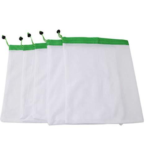 runl mo Hot 5 Pack Produits Réutilisables Sacs Noir Corde Maille Légumes Légumes Jouets Jouets Poche De Rangement (Vert M)
