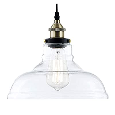Light Society Classon Edison Pendant Light, Clear Glass Shade with Antique Brass Finish, Vintage Modern Industrial Lighting Fixture (LS-C171)