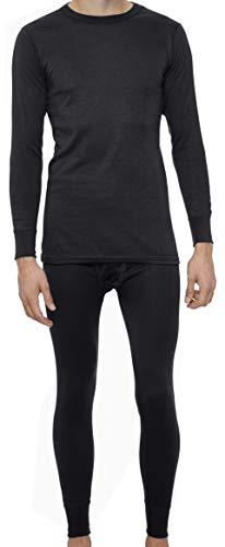 Rocky Thermal Underwear for Men Heavyweight Fleece Lined Thermals Men's Base Layer Long John Set (Black - Heavyweight (Fleece) - X-Large)