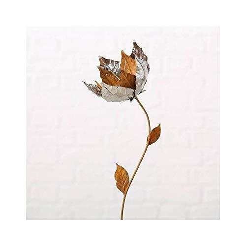 L'Héritier Du Temps Fleur sur Tige à Piquer Tuteur Décoration Florale de Jardin en Métal Oxydé et Chromé 16x16x90cm