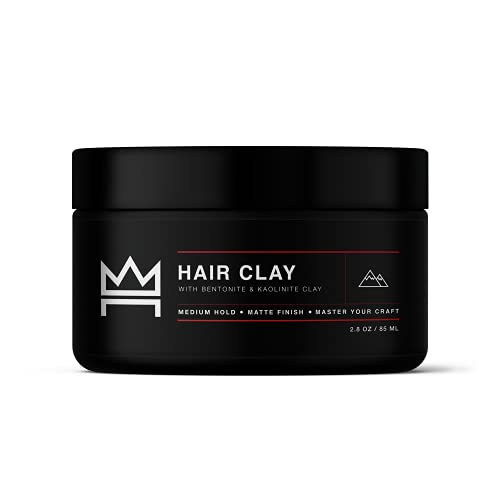 Hair Craft Co. Clay Pomade 2.8oz - Shine-Free Matte Finish - Medium Hold/Natural Look (Dense Clay) – Men's Styling Product, Stylist Approved – Ideal for Textured, Thickened & Modern Styles – Unscented