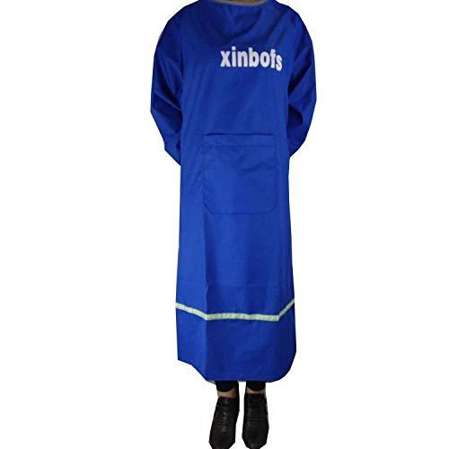 Lange Mouwen Schort Unisex Volwassen Waterdichte Jurk Stofdichte Werkkleding Omgekeerde Jurk Keuken Thuis Anti-Slijtage-Koningsblauw
