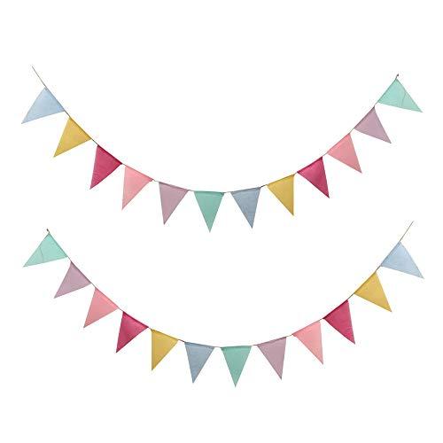 フラッグガーランド 三角旗 2本セット バナー キャンプフラッグ 誕生日 パーティー飾り クリスマス オーナ...