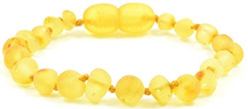 Raw Bernstein Armband/Fußkettchen–Lemon Farbe–Handarbeit aus zertifizierten Baltischer Bernstein Perlen