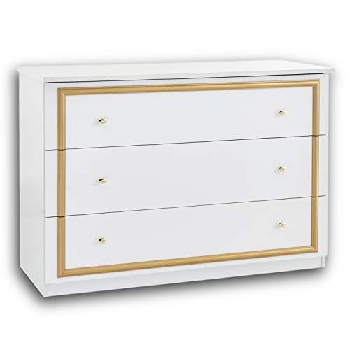 Stella Trading Claudia Königliche Schlafzimmer Kommode in Weiß-Gold - stilvolles & ausdrucksstarkes Sideboard im Barock Design für Ihr Schlafzimmer - 118 x 81 x 49 cm (B/H/T)