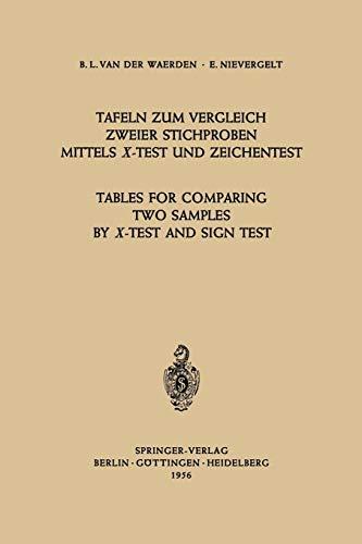 Tafeln zum Vergleich Zweier Stichproben mittels X-Test und Zeichentest / Tables for Comparing Two Samples by X-Test and Sign Test