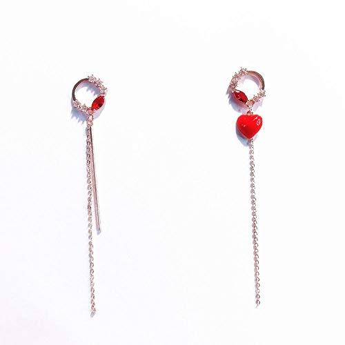 Oorbellen lang 925 liefde slinger Tempérament Wild lange oorbellen D-oorbellen zirkonia sieraden geschenk
