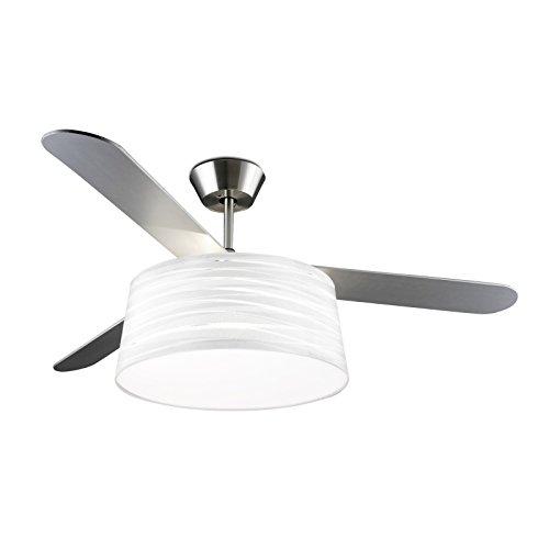LEDS-C4 Belmont - Ventilador de techo con luz (níquel satinado, 132 cm), color blanco