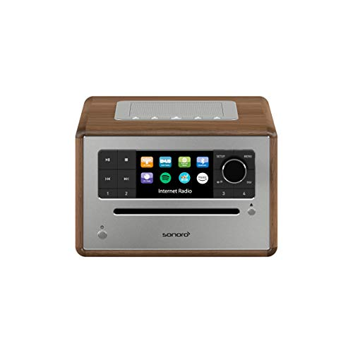 sonoro Elite Internetradio mit CD-Player (UKW/FM/DAB+/WLAN, CD, AUX, Bluetooth, Spotify, Amazon Music, Deezer) Walnuss (2020)