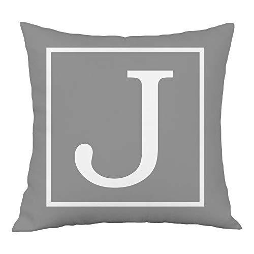 Hangood Alphabet Letter J Cushion Cover 18x18 Soft Plush Throw Pillow Covers 45cm x 45cm J