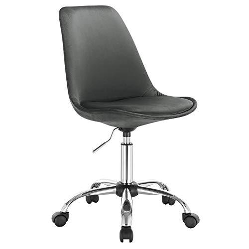 WOLTU 1x Arbeitshocker Schreibtischstuhl Rollhocker Bürohocker Drehhocker, stufenlos höhenverstellbar, Samt, Dunkelgrau, BS60dgr