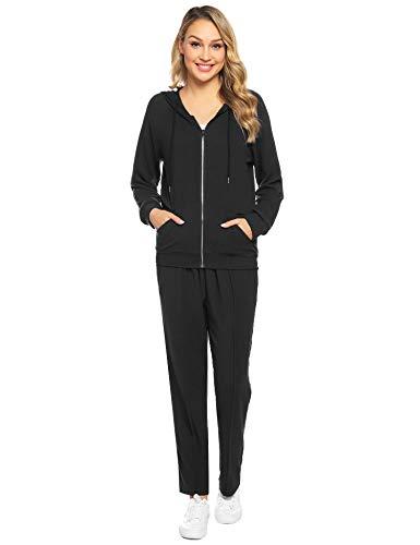 Abollria Women's 2 Piece Outfits Velvet Zip Hoodie Sweatshirt & Sweatpants Sweatsuits and Velour Tracksuit Sets Jogging Suit Black
