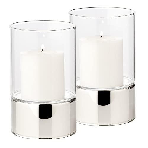 EDZARD Juego de 2 portavelas Granada (9 cm de diámetro, 15 cm de altura) en plata, cristal con base de cerámica plateada, portavelas, portavelas, portavelas de cristal para velas de columna en moderno