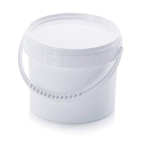 hitools Eimer - 0.9 Liter / 950 ml - mit Deckel & Kunststoffbügel - für flüssige & Feste Stoffe. lebensmittelecht. stapelbar - Kunststoff weiß