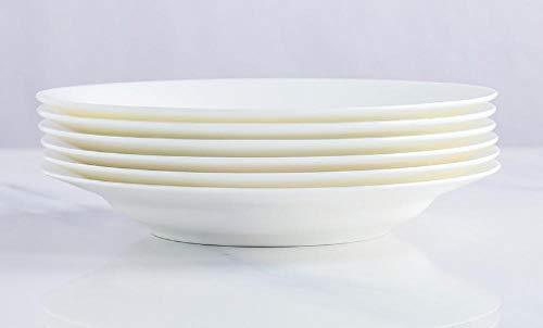 Plato de porcelana blanca de 7/8 de pulgada, plato hondo, plato hondo, plato de cerámica blanco puro para el hogar-Paquete de 6 platos hondos de 8 pulgadas
