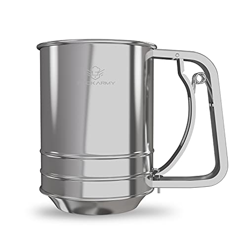 Cook Army Flour Sifter For Baking, 3 Cup Flour Sifter Stainless Steel, Powdered Sugar Sifter, Double-layer Flour Sieve, Great Baking Sifter and Flour Strainer For all Baking Flour and Powdered sugar