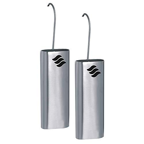 Metrox Luftbefeuchter aus Edelstahl 2er-Set (für Heizkörper, Raumbefeuchter, Form oval, zum Einhängen) 11400