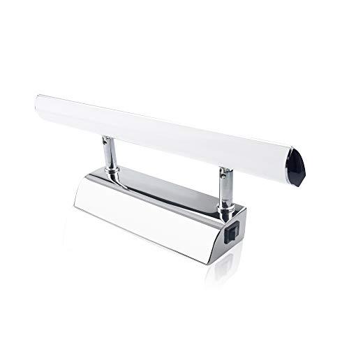 Luxvista 5W 30CM Aplique Espejo Baño LED Impermeable, Luz Espejo Baño, Ángulo Ajustable Lámpara de Espejo con Interruptor, para Apliques Baño, Armario, Pared (Blanco Frío)