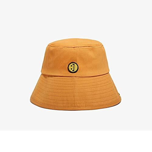JZDH Fischerhut Für Frauen Smiley Sonnenschirm Orange Fischerhut Weiblich Frühling Und Sommer Im Freien Schatten Eimer Hut Damen Sommerhut