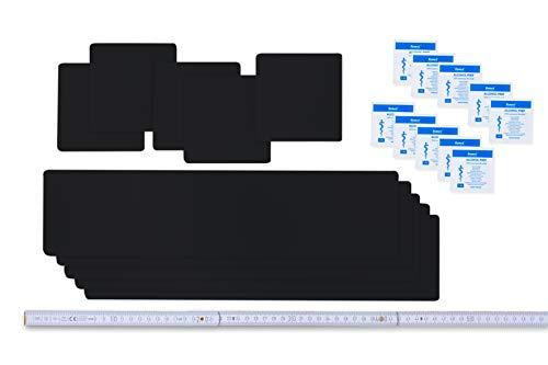 Flickly Selbstklebende Planenreparatur Tapes | 10 teilig | Easy Patch Comfort 100mm | Für Zelte, Planen UVM (schwarz)