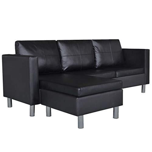 vidaXL Ecksofa 3er L-Form Kunstleder Loungesofa Eckcouch Couch Wohnlandschaft