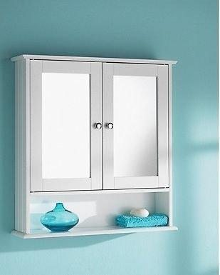 HK: Double Door Mirrorr With Shelf Wooden Bathroom Cabinet 56CM X13CM X 58CM