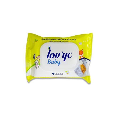 Lov'yc Toallitas Húmedas Para Bebé Con Aloe Vera, Toallitas, Blanco, 20 Unidad