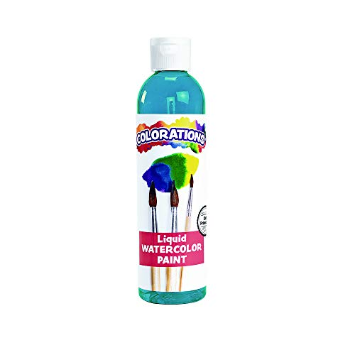 Colorations Liquid Watercolor Paint, 8 fl oz, Turquoise, Non-Toxic, Painting, Kids, Craft, Hobby, Fun, Water Color, Posters, Cool Effects, Versatile, Gift (LWTU)